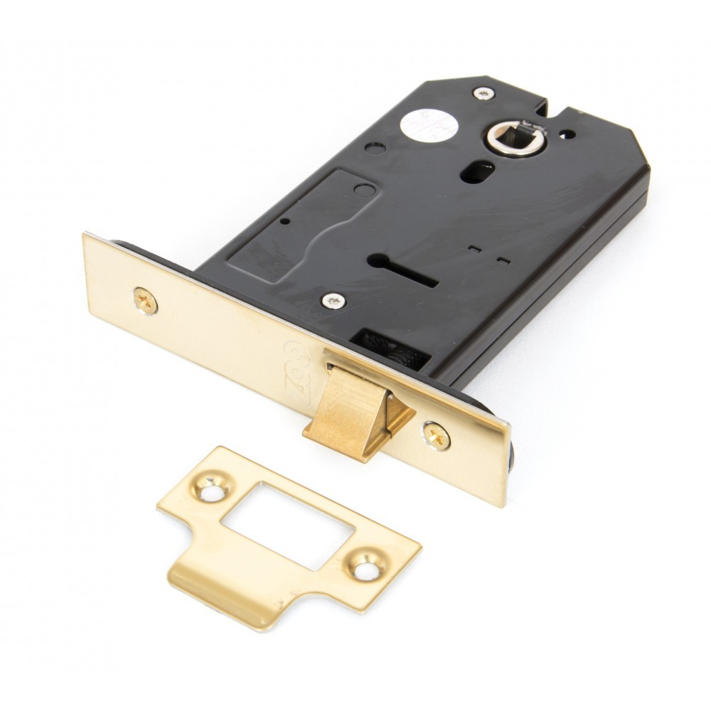 """From The Anvil Polished Brass 5"""" 3 Lever Horizontal Latch"""