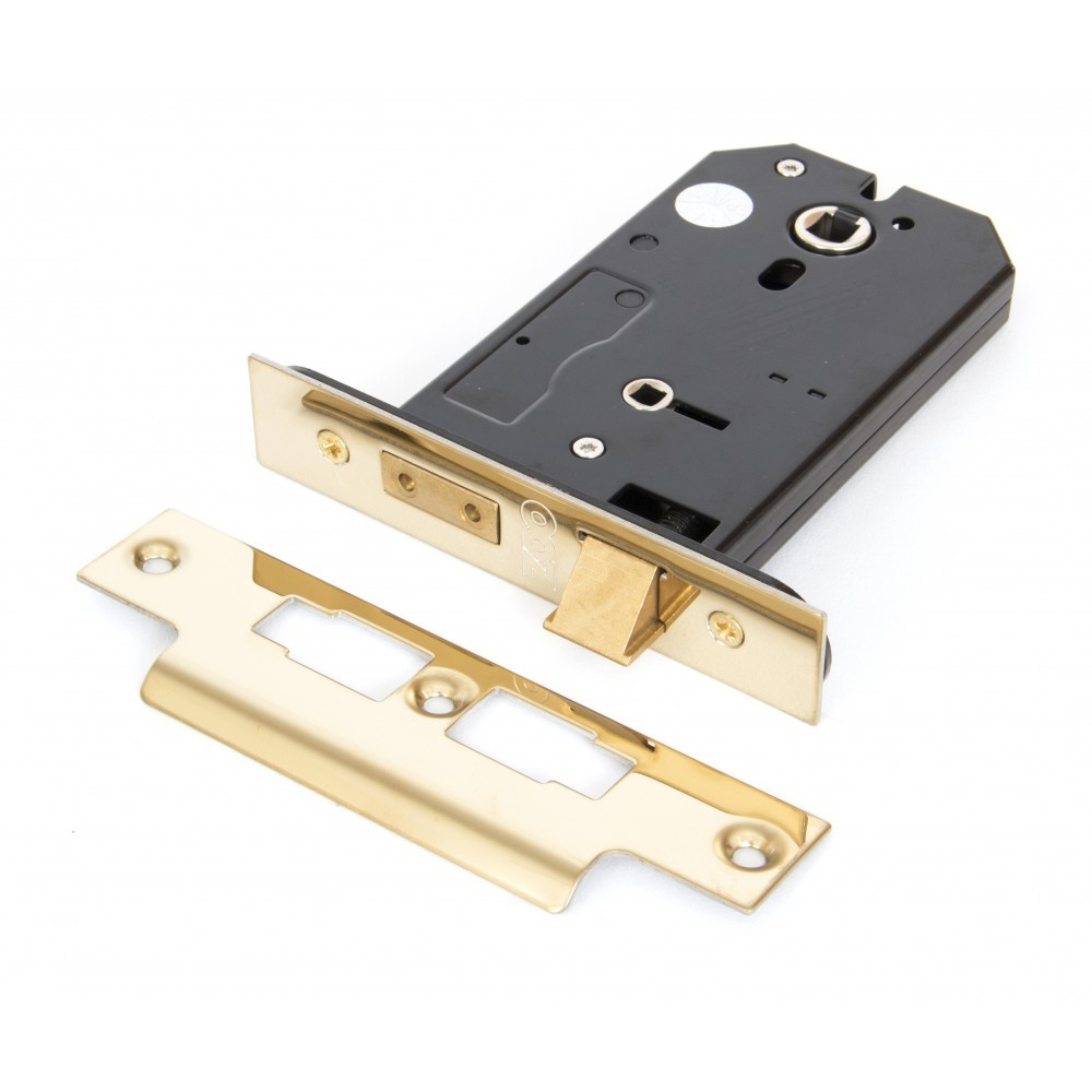 """From The Anvil Polished Brass 5"""" 3 Lever Horizontal Bathroom Lock"""