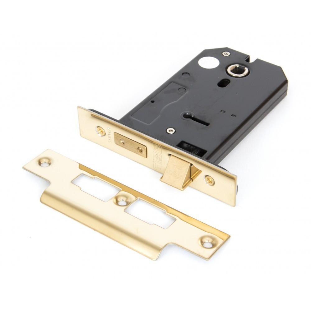 "Polished Brass 5"" 3 Lever Horizontal Lock"