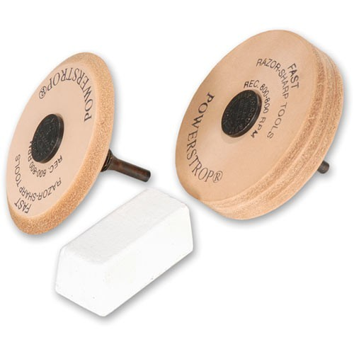 Flexcut Deluxe Powerstrop Leather Honing Wheels and Compound
