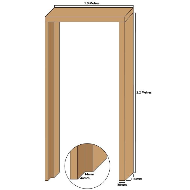 Tulipwood single door casing, 30mm thickness, rebated 44mm