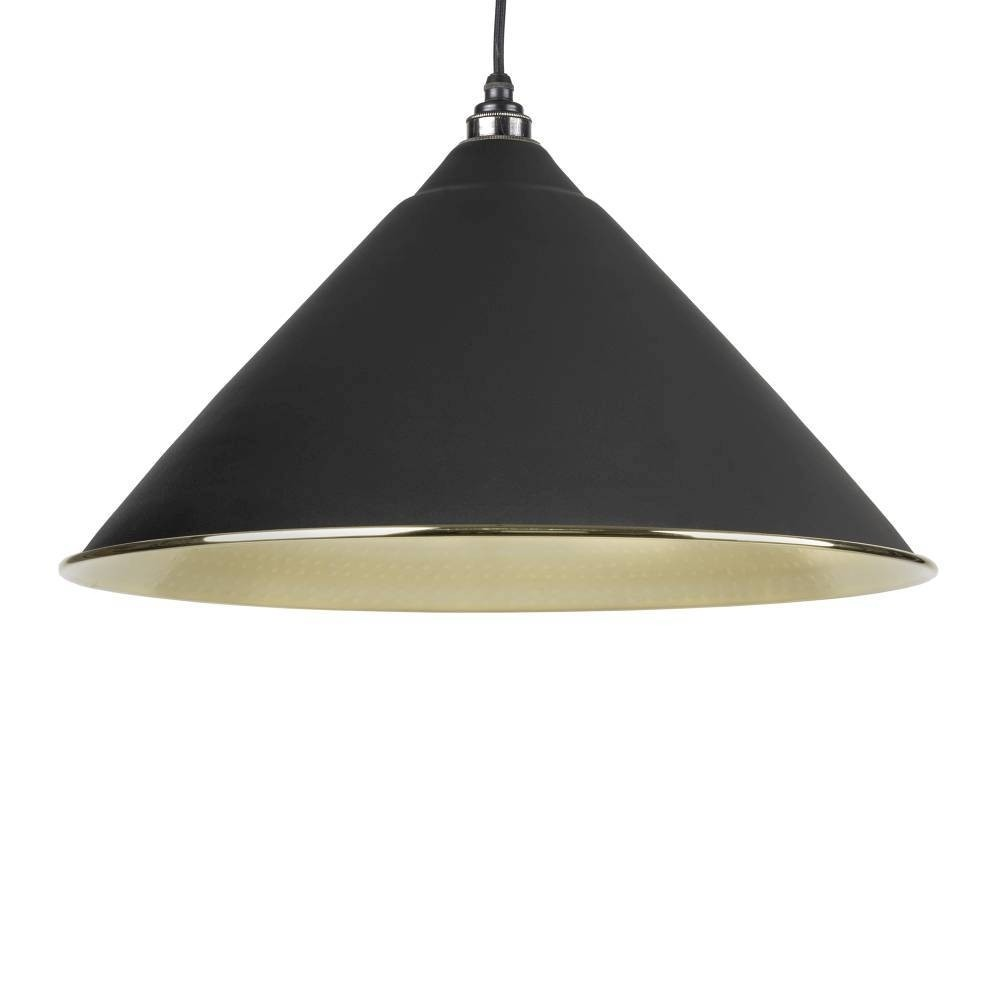 From The Anvil Black & Hammered Brass Hockley Pendant