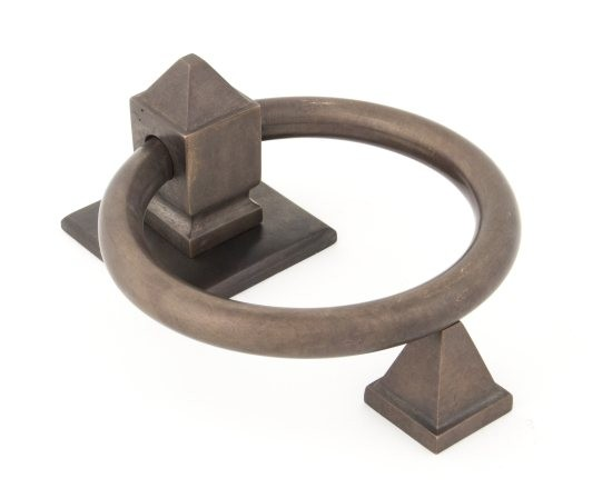 From The Anvil Aged Bronze Ring Door Knocker