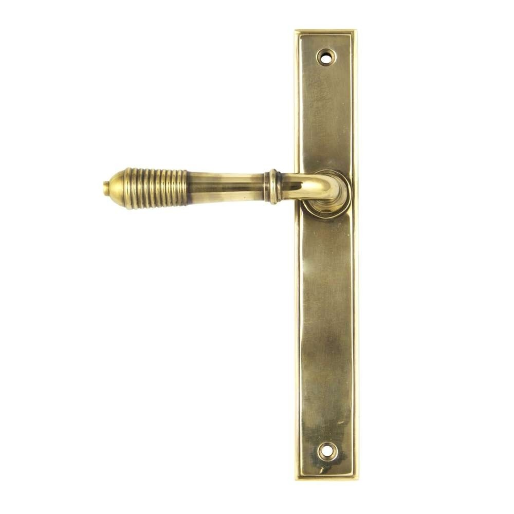 From The Anvil Aged Brass Reeded Slimline Lever Latch Set