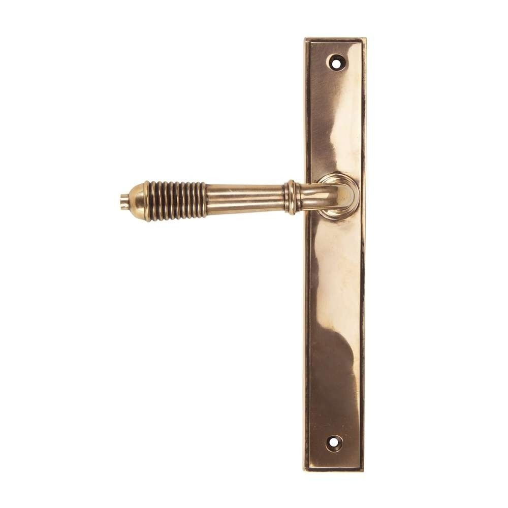 From The Anvil Polished Bronze Reeded Slimline Lever Latch
