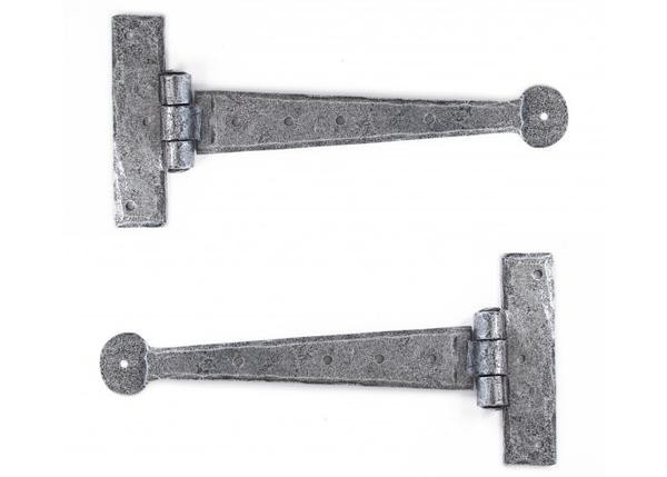 """From The Anvil Pewter Patina Handmade T Hinge 9"""" (pair)"""