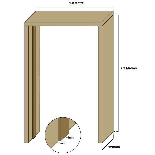 Oak single door casing, 30mm thickness, loose stops