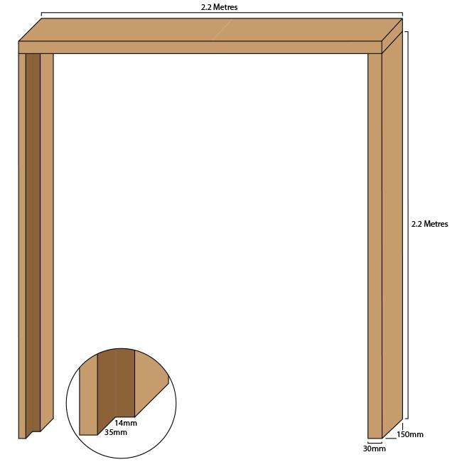 Oak double door casing, 30mm thickness, rebated 35mm