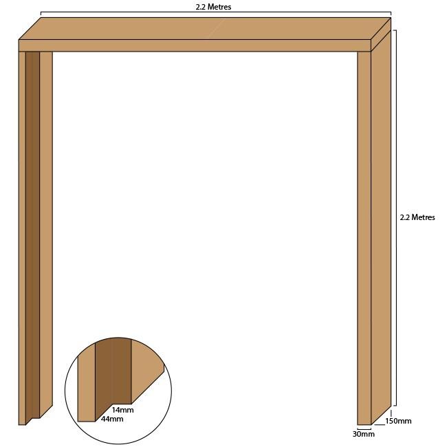 Oak double door casing, 30mm thickness, rebated 44mm