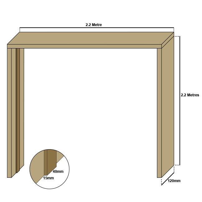 Oak double door casing, 20mm thickness, loose stops