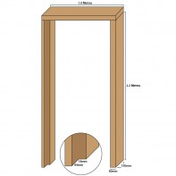 Oak single door casing, 30mm thickness, rebated 44mm