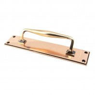 From The Anvil Polished Bronze 300mm Art Deco Pull Handle on Backplate