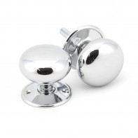 From the Anvil Polished Chrome 57mm Mushroom Mortice/Rim Knob Set