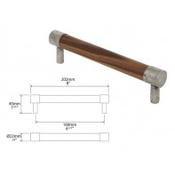 Finesse Milton American Black Walnut and Pewter Round Bar Handle 160mm