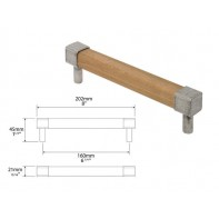 Finesse Eden Oak and Pewter Square Bar Handle 160mm