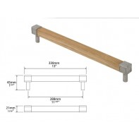 Finesse Eden Oak and Pewter Square Bar Handle 288mm