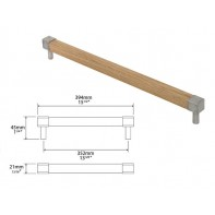 Finesse Eden Oak and Pewter Square Bar Handle 352mm