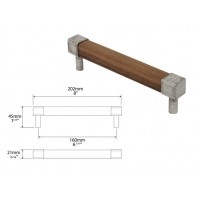Finesse Eden American Black Walnut and Pewter Square Bar Handle 160mm