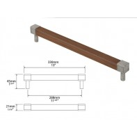 Finesse Eden American Black Walnut and Pewter Square Bar Handle 288mm