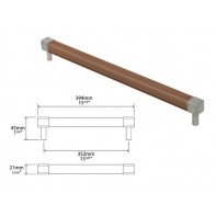 Finesse Eden American Black Walnut and Pewter Square Bar Handle 352mm