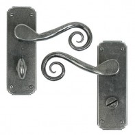 From The Anvil Pewter Unsprung Monkeytail Lever Bathroom Set