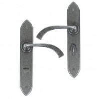 From The Anvil Pewter Gothic Curved Sprung Lever Bathroom Set