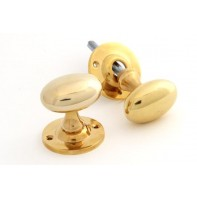 From The Anvil Polished Brass Oval Mortice/Rim Knob Set