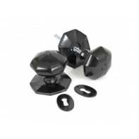 From The Anvil Large Octagonal Mortice Rim Knob Set - Black