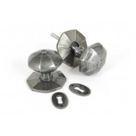 From The Anvil Large Octagonal Mortice Rim Knob Set - Pewter