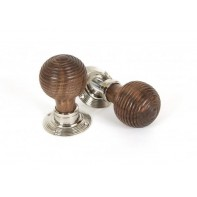 From The Anvil Rosewood Mortice Rim Beehive Knob Set - Polished Nickel Roses
