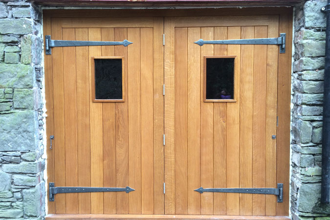 External Oak double door
