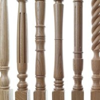 Various designs of turned oak stair spindles