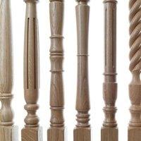 Various designs of turned oak stair spindles