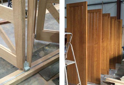 Bifold door being made