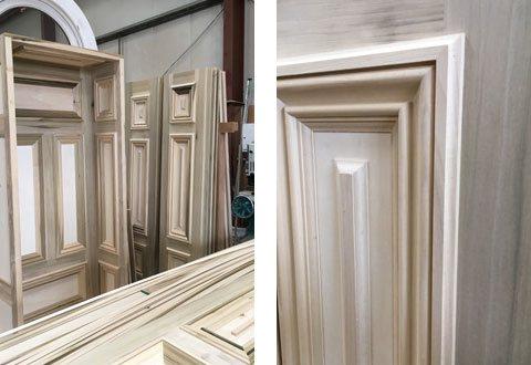 Tulipwood door in the workshop